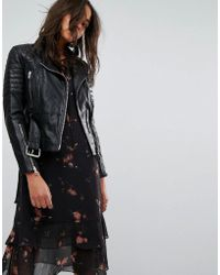 AllSaints - All Saints Quilted Belted Biker Jacket In Leather - Lyst