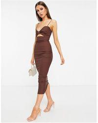 Vesper Коричневое Платье Миди С Декоративным Вырезом -коричневый Цвет