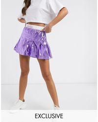 Ellesse Metallic Pleated Skirt With Logo Banding - Purple