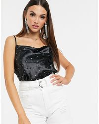 ASOS Cowl Neck Cami With Hot Fix In High Shine Satin - Black