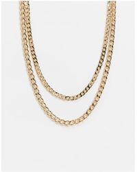 ASOS - Золотистое Ярусное Ожерелье Из Цепочки С Разными Крупными Звеньями - Lyst