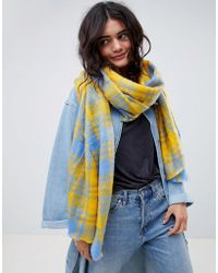 ASOS - Long Oversized Scarf In Brushed Yellow Bright Check - Lyst