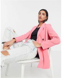 River Island Blazer doppiopetto rosa