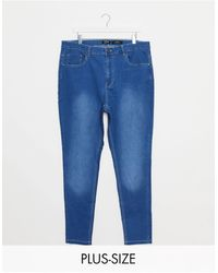 Simply Be Lucy - Jean skinny taille haute délavé - Bleu