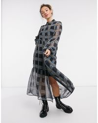 Noisy May - Ярусное Платье-рубашка Макси В Темно-синюю Клетку -мульти - Lyst