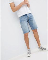 Mennace Ripped Denim Shorts In Vintage Blue