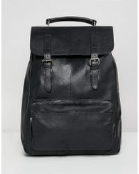 ASOS DESIGN - Leather Backpack In Black With Front Pocket And Double Straps - Lyst