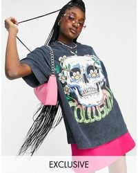 Collusion Unisex Oversized T-shirt With Print - Black