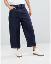 ASOS - Design Wide Leg Cropped Jeans In Indigo - Lyst