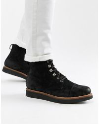 Grenson - Newton Lace Up Boots In Black Suede - Lyst