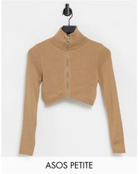 ASOS Asos Design Petite Zip Through Crop Cardigan - Natural