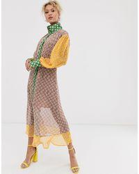 Never Fully Dressed - Платье Миди С Контрастными Вставками -мульти - Lyst