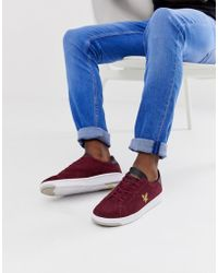 Lyle & Scott Burchill Suede Lace Up Sneakers - Red