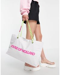 House of Holland Fabric Logo Shopper Bag With Corded And Chain Straps - Multicolour