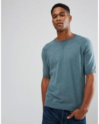 ASOS - Relaxed Fit Short Sleeve Jumper In Dusty Teal - Lyst