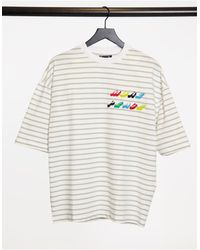 ASOS Oversized Stripe T-shirt With Chest Embroidery - Multicolour