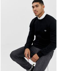 Fred Perry Crew Neck Jumper In Black