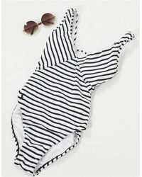 Polo Ralph Lauren Pique Stripe Lace-back Swimsuit-multi - Multicolour