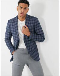 TOPMAN Check Skinny Suit Jacket - Blue
