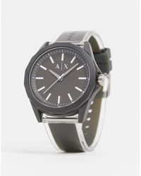 Armani Exchange Drexler - Leer Horloge - Grijs