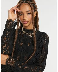 Object High Neck Lace Top - Black