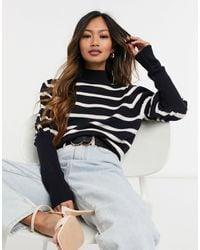 10 Crosby Derek Lam Elani Volume Sleeve Stripe Sweater - Black