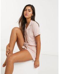 Lindex Розовый Топ От Пижамы Из Вискозы С Отложным Воротником Chloe Eco