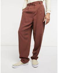 ASOS Pantalon slim élégant à taille haute en sergé - Multicolore