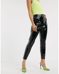 NA-KD Skinny Broek Met Hoge Taille Van Vinyl - Zwart