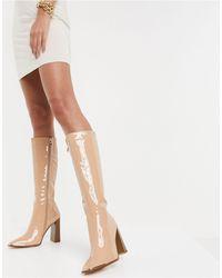 SIMMI Shoes Simmi london melisa - bottes hauteur genou avec plaque métallique - beige verni - Neutre