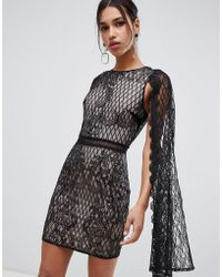 True Decadence - Sequin Lace Cape Detail Pencil Dress In Black - Lyst