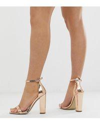 Missguided Minimalistische Sandalen Met Blokhak In Rosé-goud - Metallic