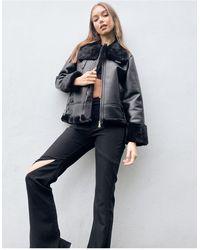 Urban Bliss Faux Fur Collar Avaitor - Black