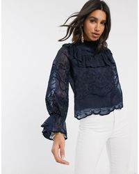 Y.A.S Lace Blouse With Ruffle Detail - Blue