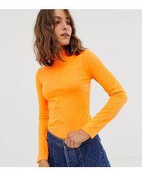 River Island - Roll Neck Top In Neon Orange - Lyst