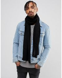 River Island - Ribbed Scarf In Black - Lyst