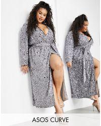 ASOS Curve Wrap Midi Dress - Metallic