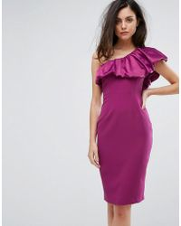 Vesper - One Sleeve Pencil Dress With Satin Ruffle - Lyst