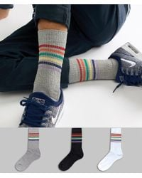 ASOS Sports Style Socks With Glitter Rainbow Stripes 3 Pack Multipack Saving - Blue