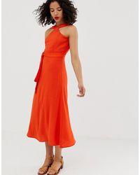 Vero Moda Hoogsluitende Lange Jurk Met Striktaille - Oranje