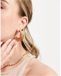 South Beach Золотистые Серьги-кольца С Кованой Отделкой -золотистый - Металлик