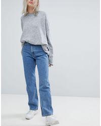 Weekday – Rowe – Gerade geschnittene Jeans aus Bio-Baumwolle mit superhohem Bund - Blau