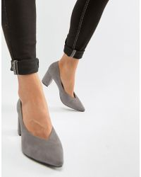 Glamorous - Point Block Heeled Shoes In Grey - Lyst