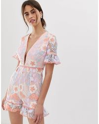 True Decadence Premium Allover Embroidered Playsuit With Ruffle Hem - Multicolour