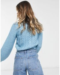 Jack Wills Cable Knit Balloon Sleeve Sweater - Blue