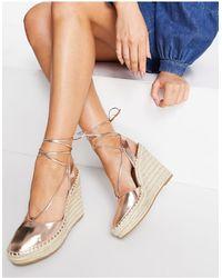 ASOS Tammy Tie Leg Espadrille Wedges - Multicolour