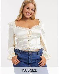 Skylar Rose Plus Milkmaid Top With Corset Detail - White