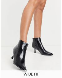 ASOS Wide Fit Reunite Pointed Boots With Interest Heel - Black