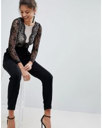 Lipsy - Tailored Jumpsuit With Lace Upper - Lyst