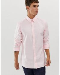 47c9b33a0f2a4 Tommy Hilfiger - Button Down Oxford Shirt Slim Fit With Pique Flag Logo In  Pink -
